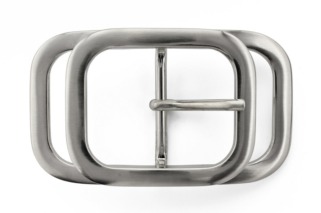 Satin silver layered rectangle buckle 40mm