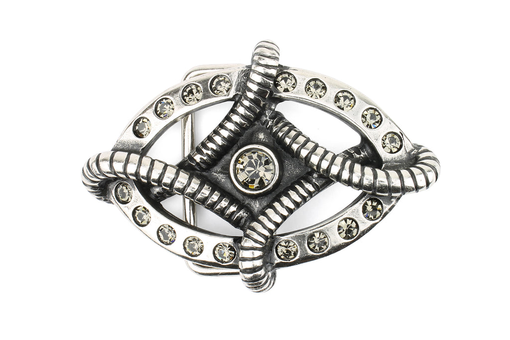 Diamond Oval Aged Silver Crystal Buckle 40mm