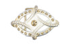Diamond Oval Bleached Gold Crystal Buckle 40mm