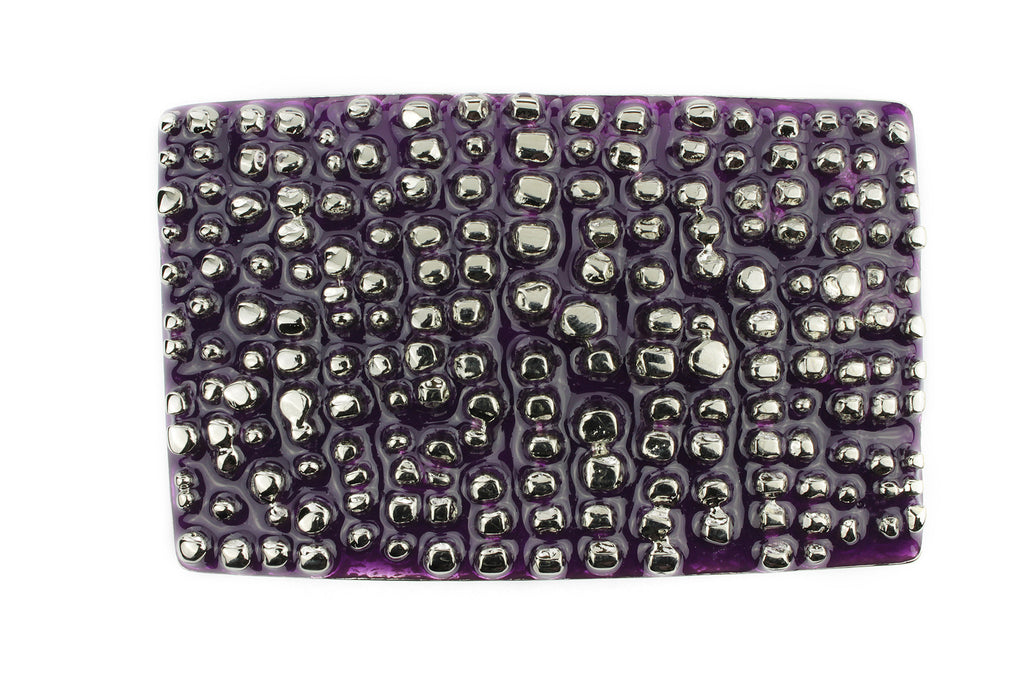 Grape and Silver Chunky Enamel Buckle 40mm