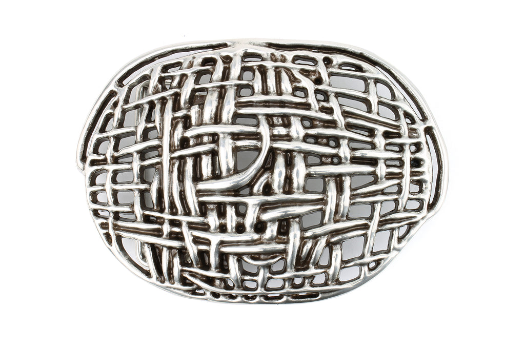 Mesh Effect Special Silver Oval Buckle 40mm