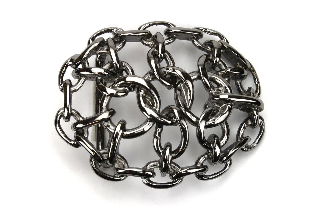 Shiny Gunmetal Oval Chain Maille Buckle 40mm