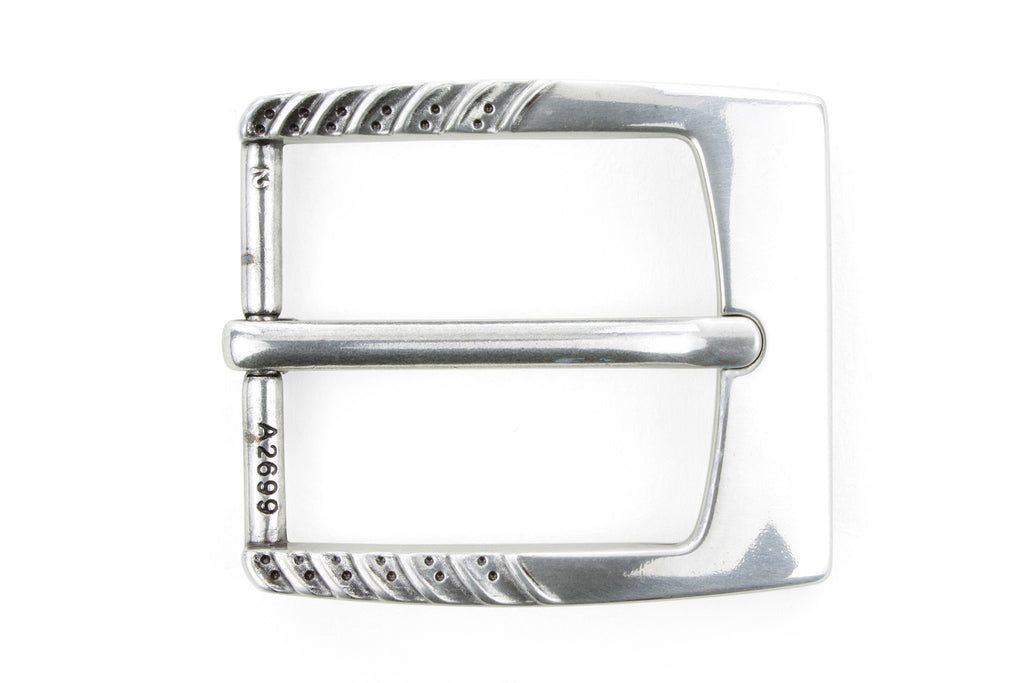 Antique Silver Ridge Dimple Prong Buckle 40mm