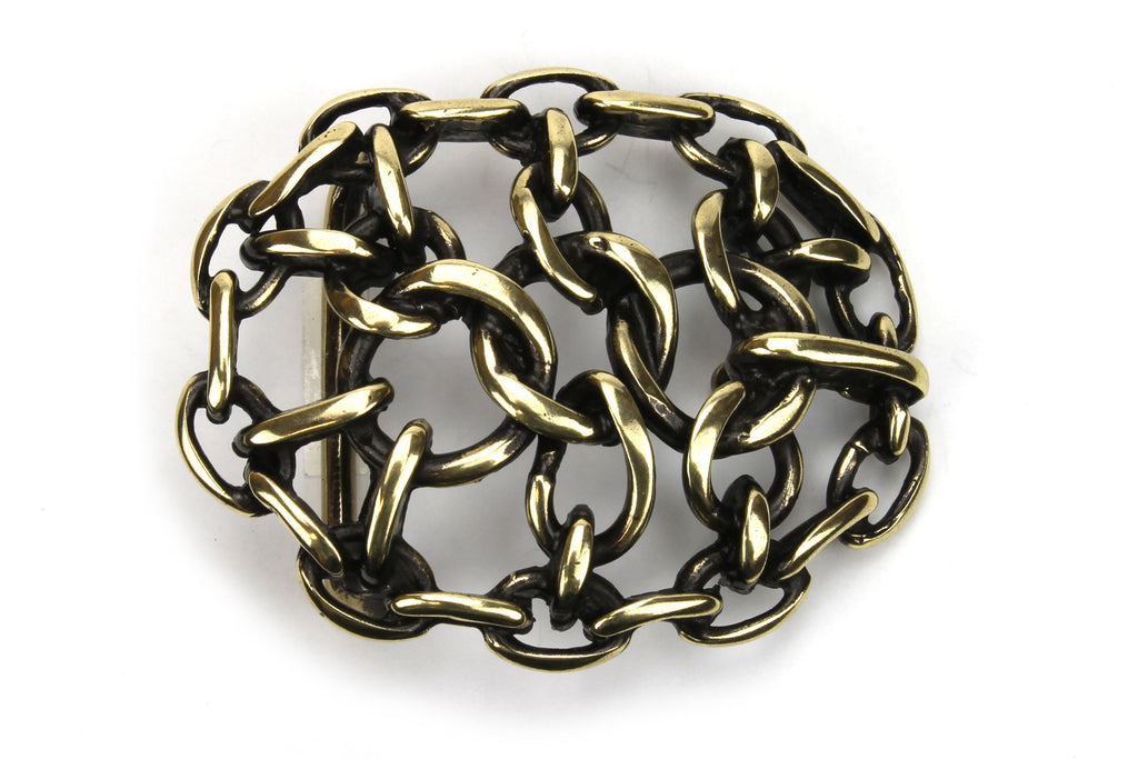 Antique Gold Oval Chain Maille Buckle 40mm