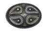 Oval Gunmetal Paisley Crystal Insert Buckle 40mm