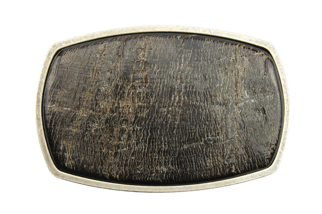 Mottled Dark Horn Framed Rectangular Buckle 40mm