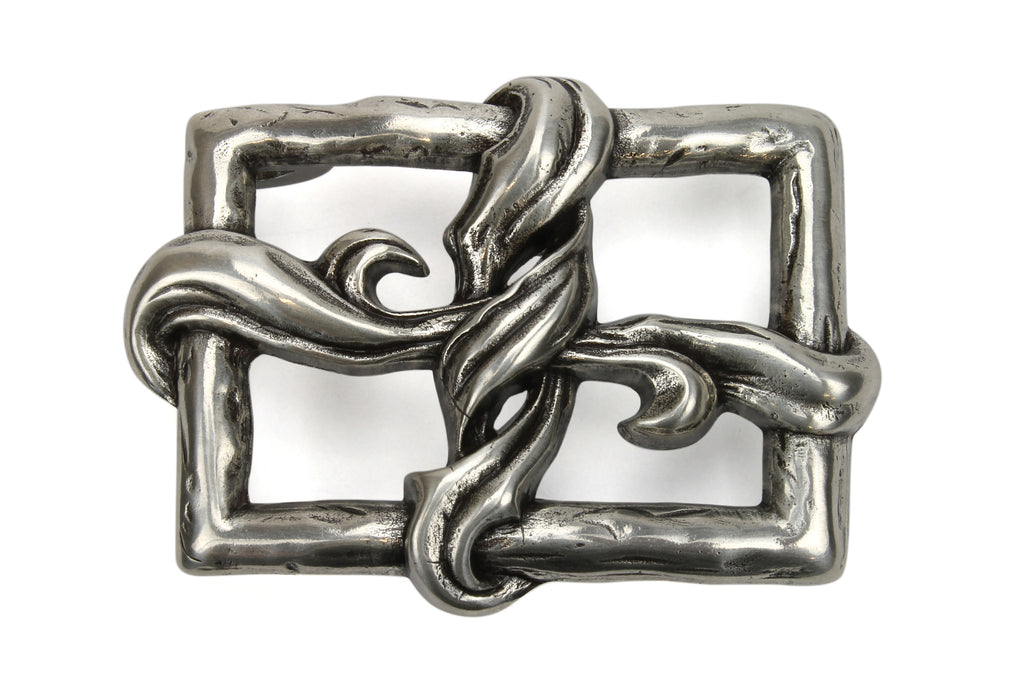 Twisted Silk Aged Silver Open Face Buckle 40mm