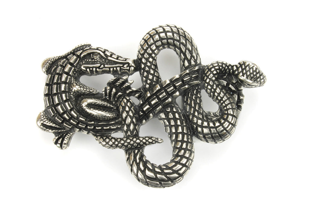 Interlocking Aged Silver Crocodile/Snake Buckle 40mm