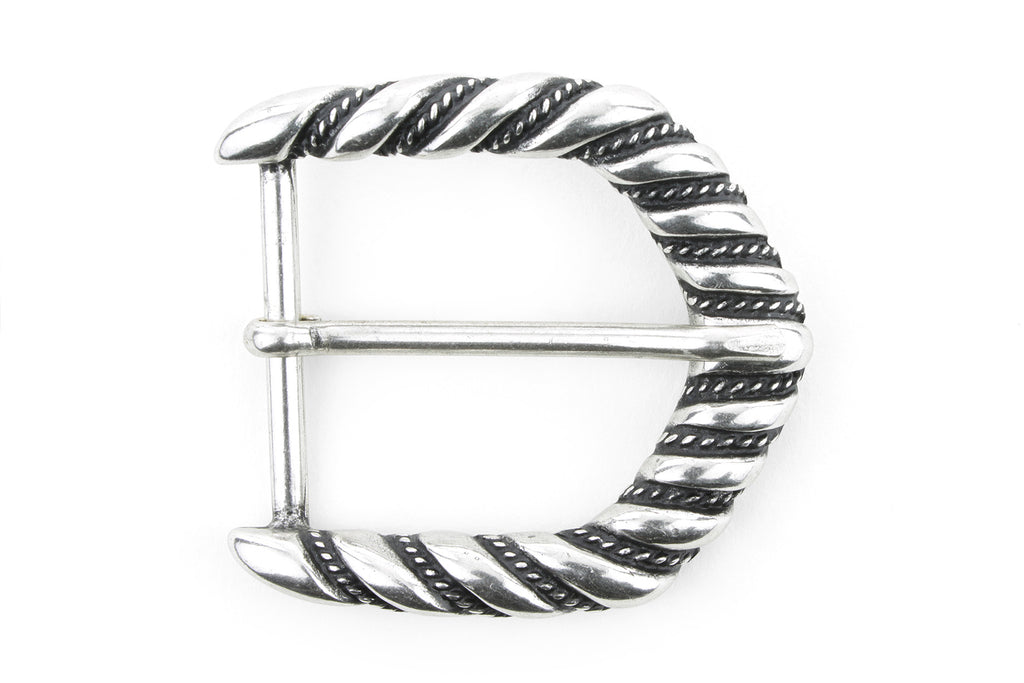 Aged Silver Ribbon Edge Arrow Prong Buckle 40mm