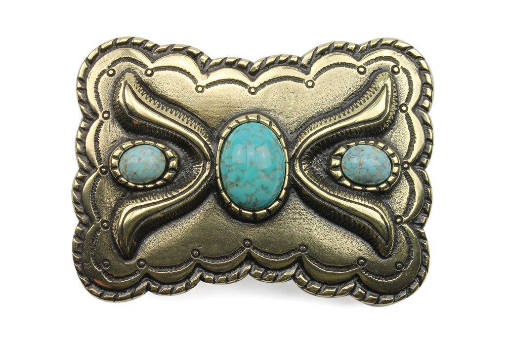 Sculpted Rectangle Turquoise Encrusted Buckle 40mm