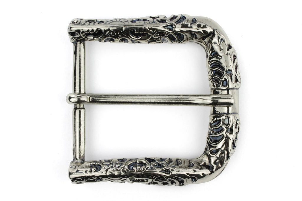 Silver fretwork style prong buckle 40mm