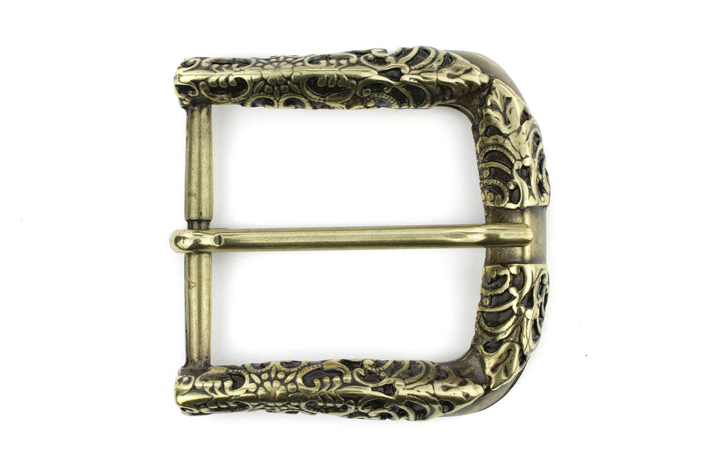 Aged Gold fretwork style prong buckle 40mm