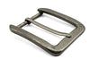 Sliced Edge Detail Distressed Silver Rectangular Prong Buckle 40mm