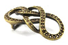 Aged Gold and Topaz Crystal Reef Knot Buckle 40mm