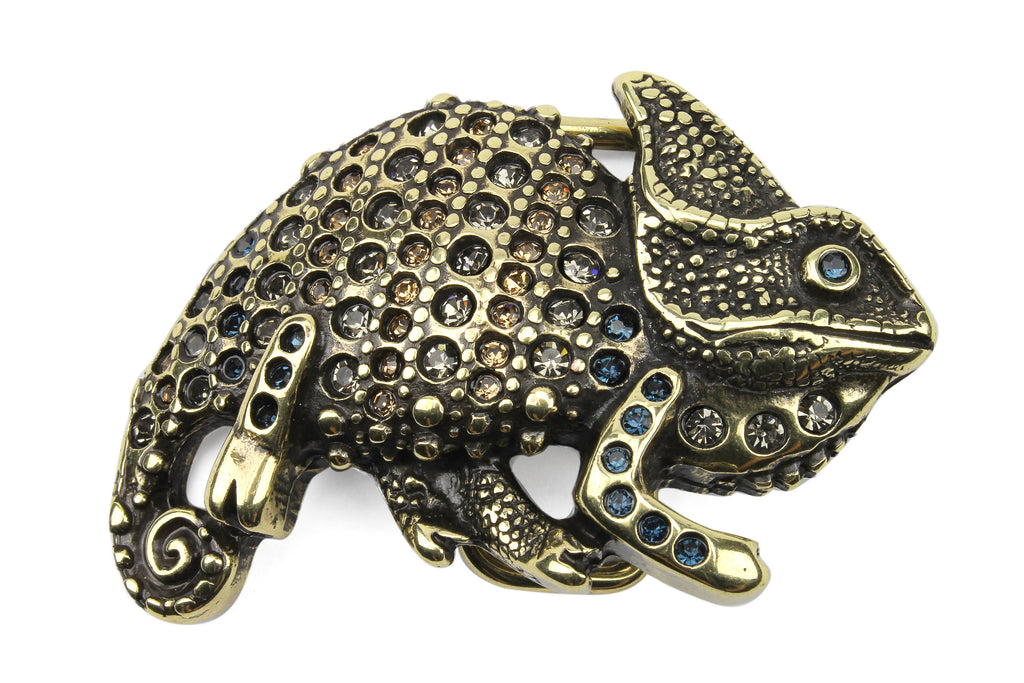 Antique Gold Crystal Encrusted Chameleon Buckle 40mm