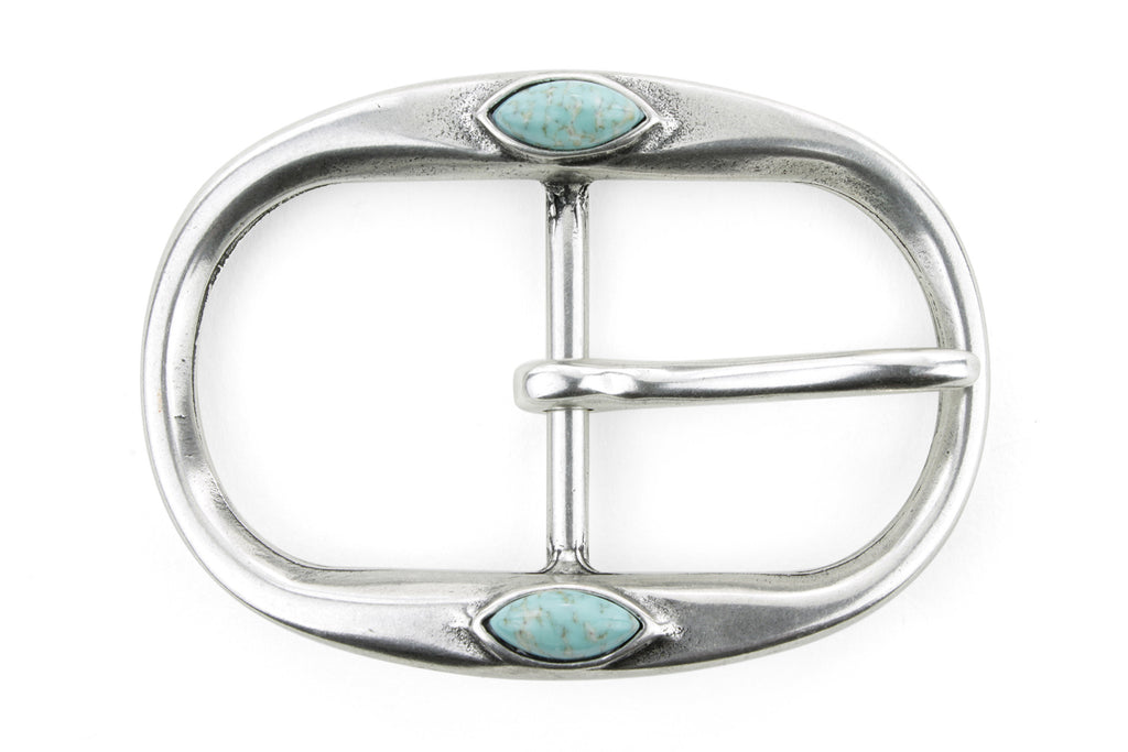 Aged Silver Oval Centre Prong Turquoise Buckle 40mm