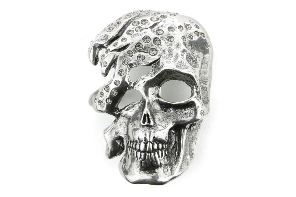 Aged Silver Half Skull Crystal Buckle 40mm