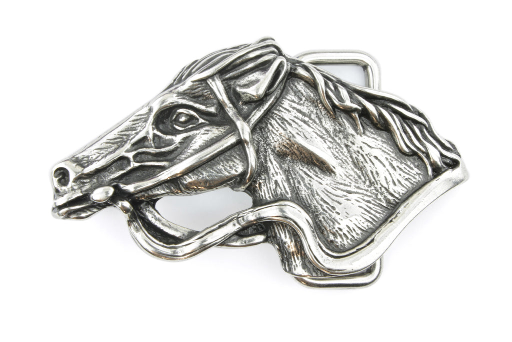 Antique Silver Horse Buckle 40mm