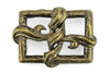 Twisted Silk Antique Brass Open Face Buckle 40mm