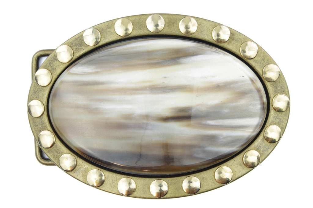 Polished Buffalo Horn and Aged Gold Oval Buckle 40mm