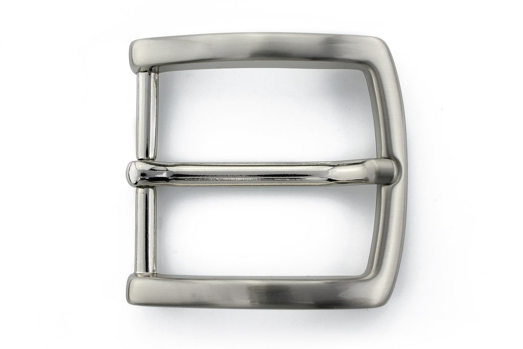 Classic satin silver prong buckle 40mm