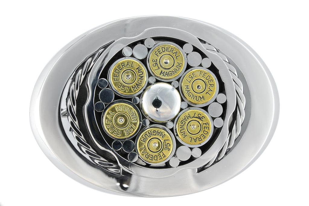 Stainless steel oval spinner style 'Bullet' buckle - 6 shells