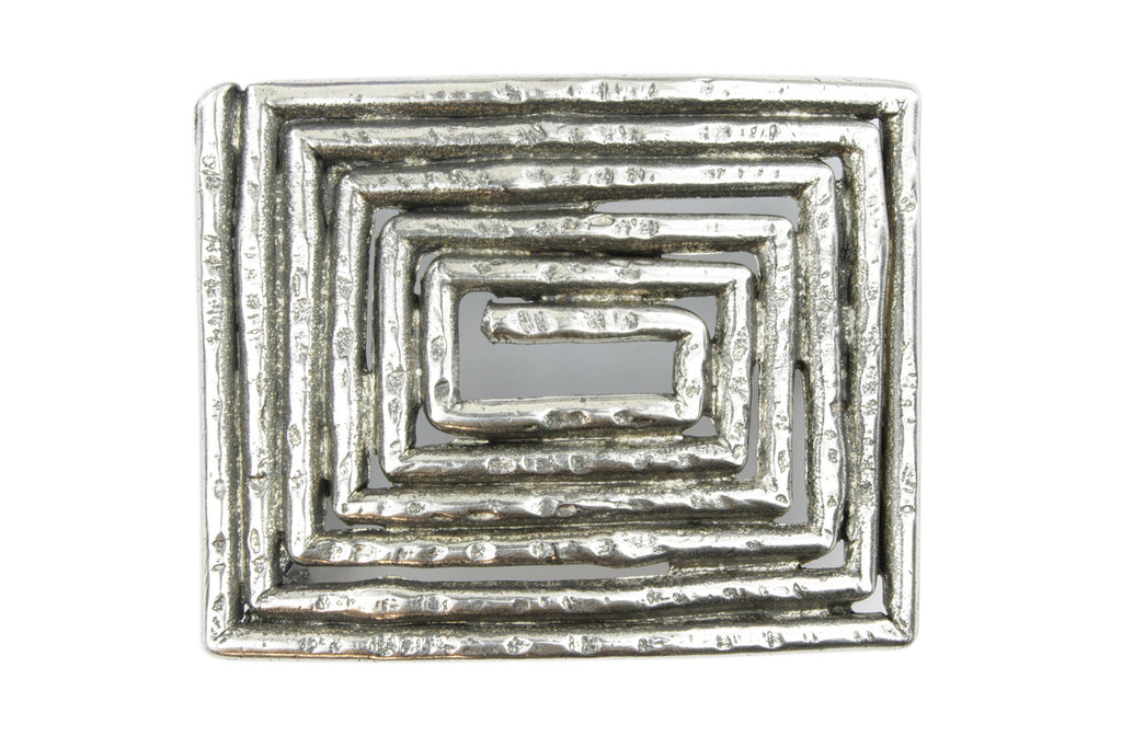 Aged Silver Maze Plate Buckle 40mm