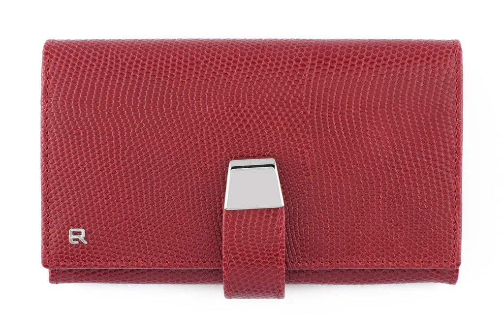 Red mock iguana flap style purse