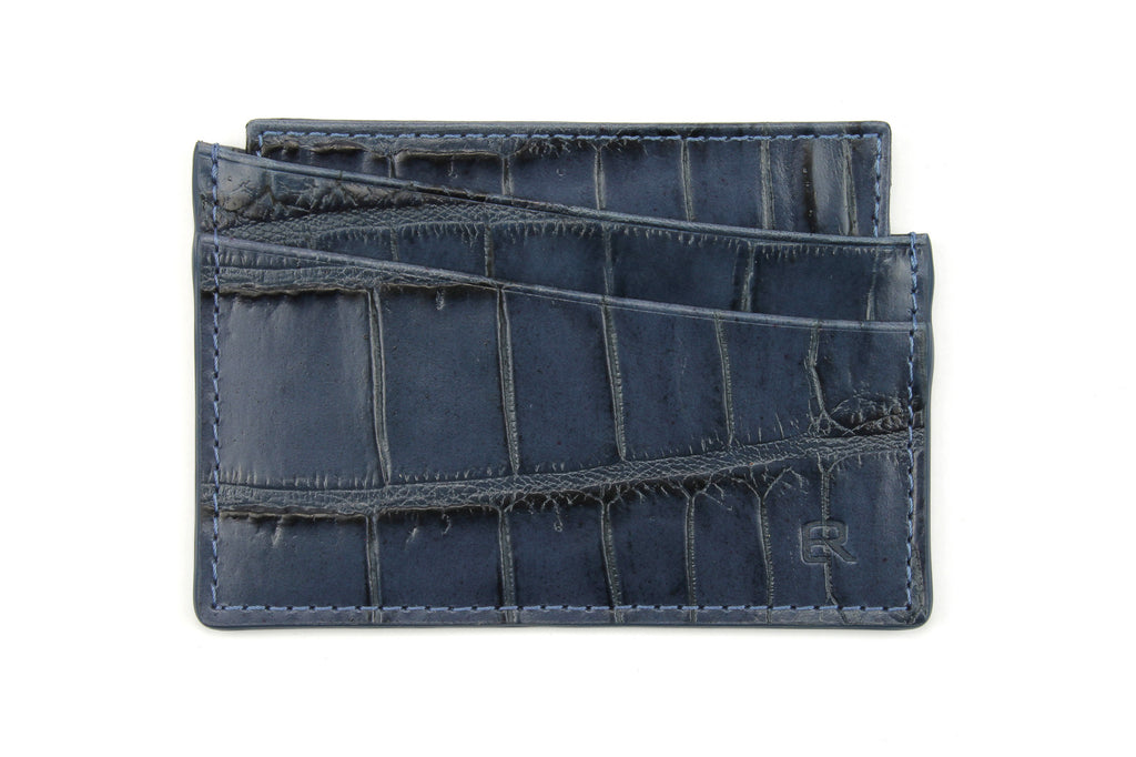 Navy mock crocodile Fulham card holder