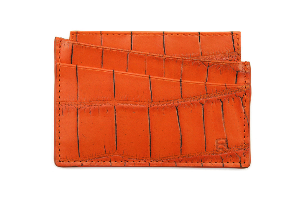Zinnia orange mock crocodile Fulham card holder