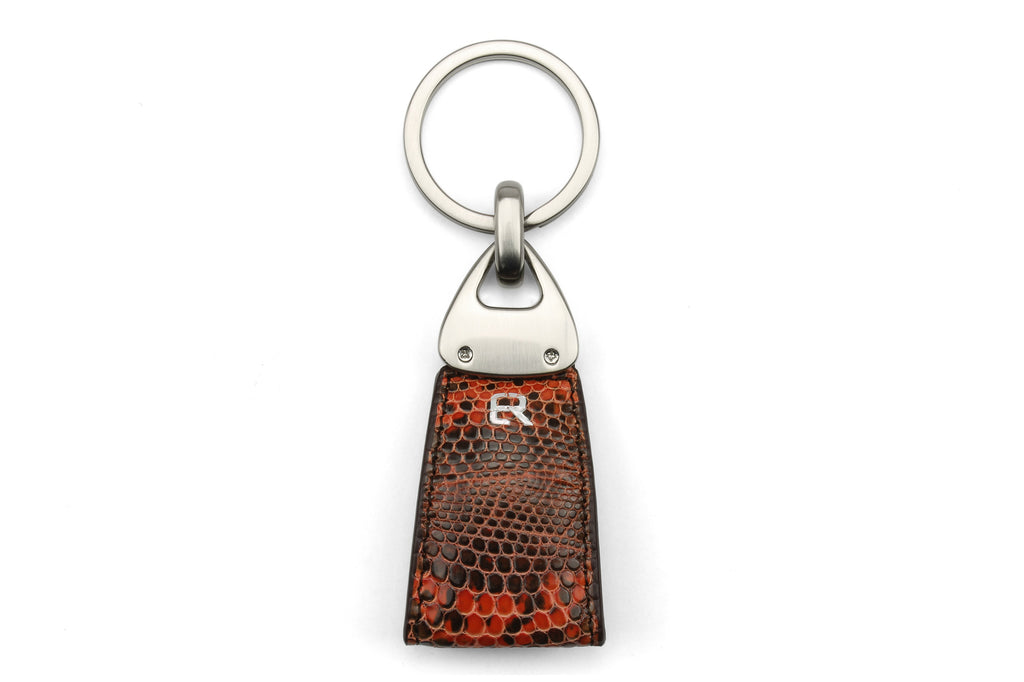 Burnt Orange Genuine Iguana Triangle keychain