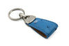 Aqua Blue Genuine Ostrich Triangle keychain