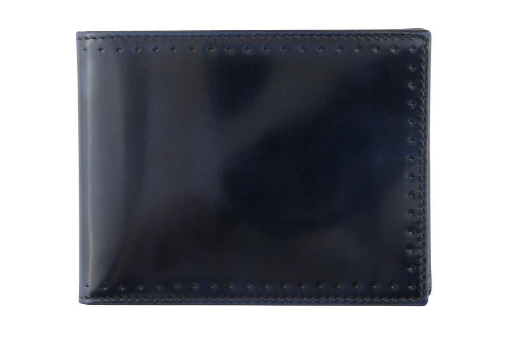 Electric blue burnished cordovan perforated detail wallet