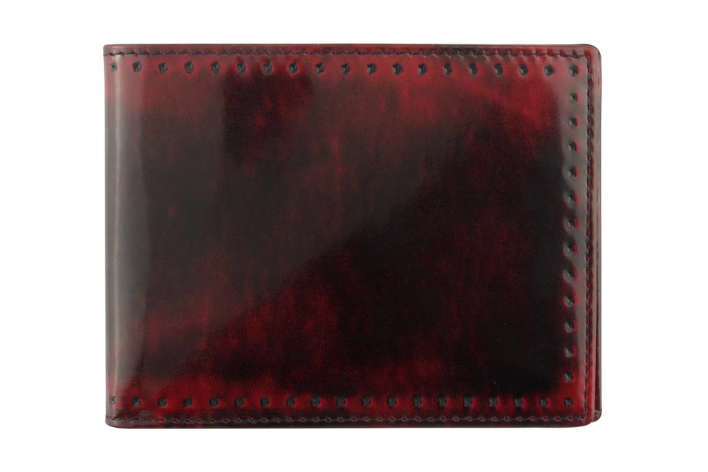 Black & Red burnished cordovan perforated detail wallet