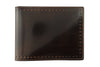 Cognac burnished cordovan perforated detail wallet