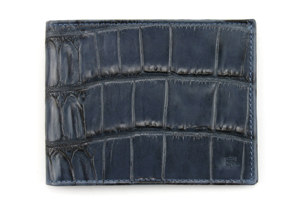 Navy blue mock crocodile wallet