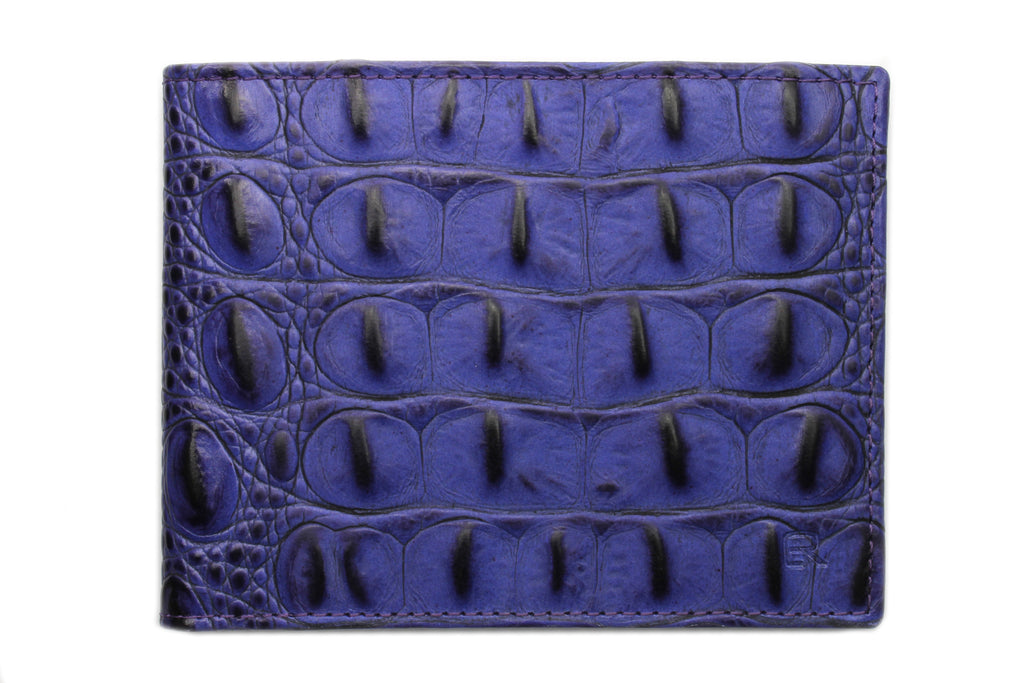 Tonal Deep Purple mock croc wallet