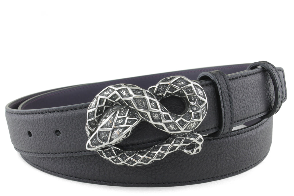 Narrow Black Novak Snake Belt
