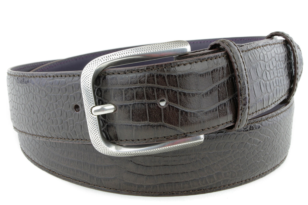 Rich Brown Mock Crocodile Dimple Belt