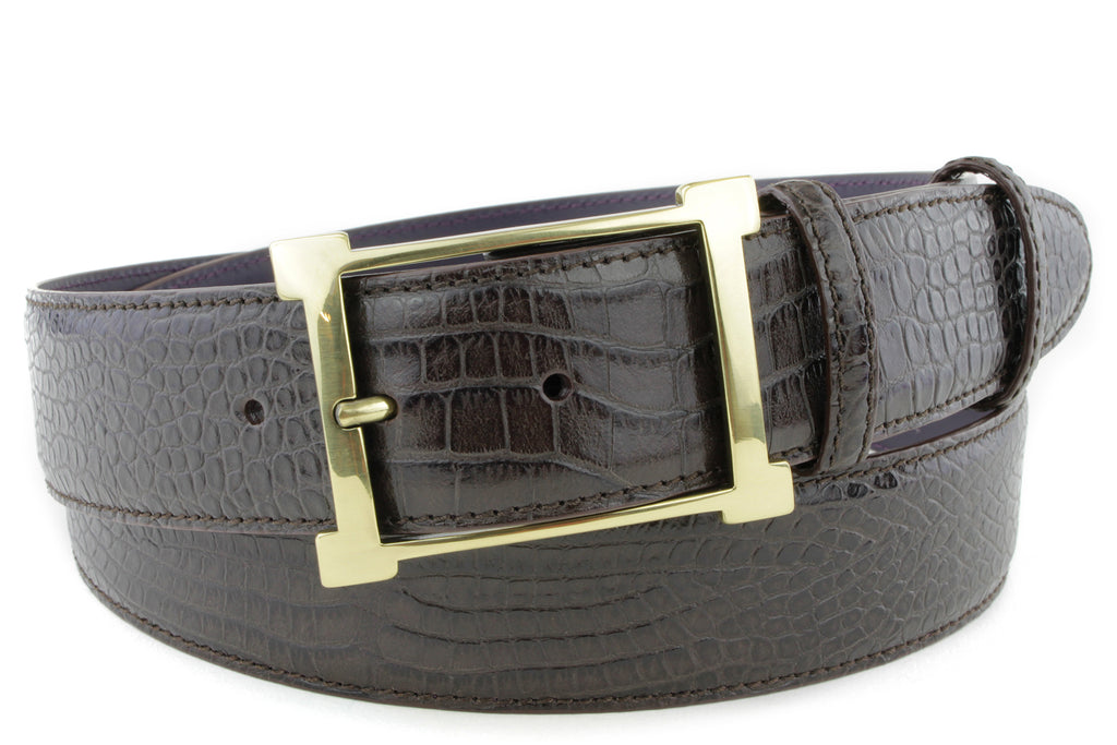 Rich Brown Mock Crocodile Frame Belt