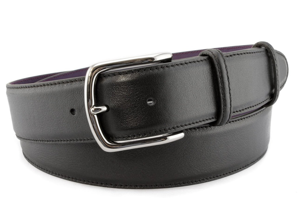 Classic Black box calf kinked prong belt