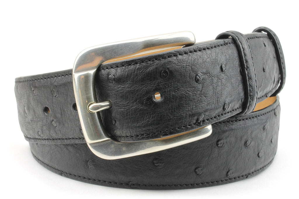 Black Genuine Ostrich Belt