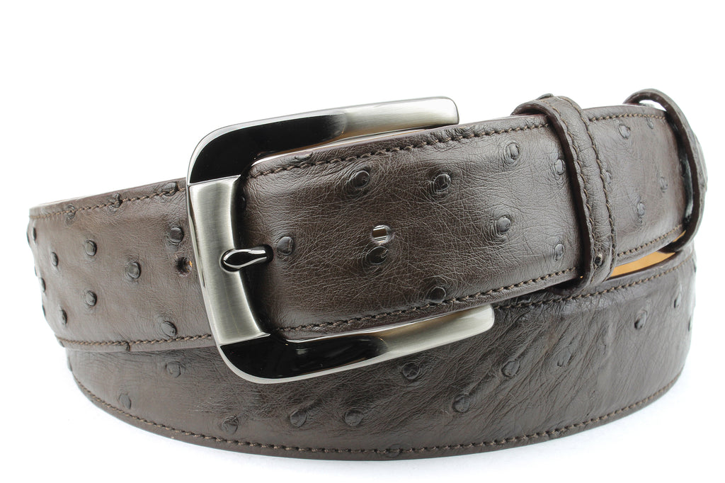 Dark Brown Genuine Ostrich Belt