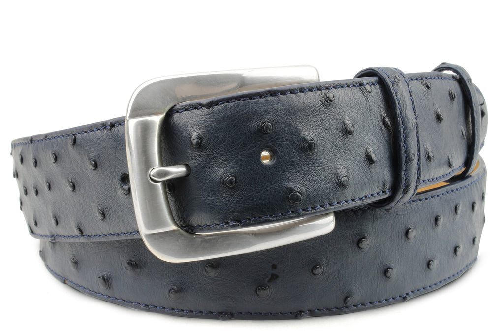 Navy Blue Genuine Ostrich Belt