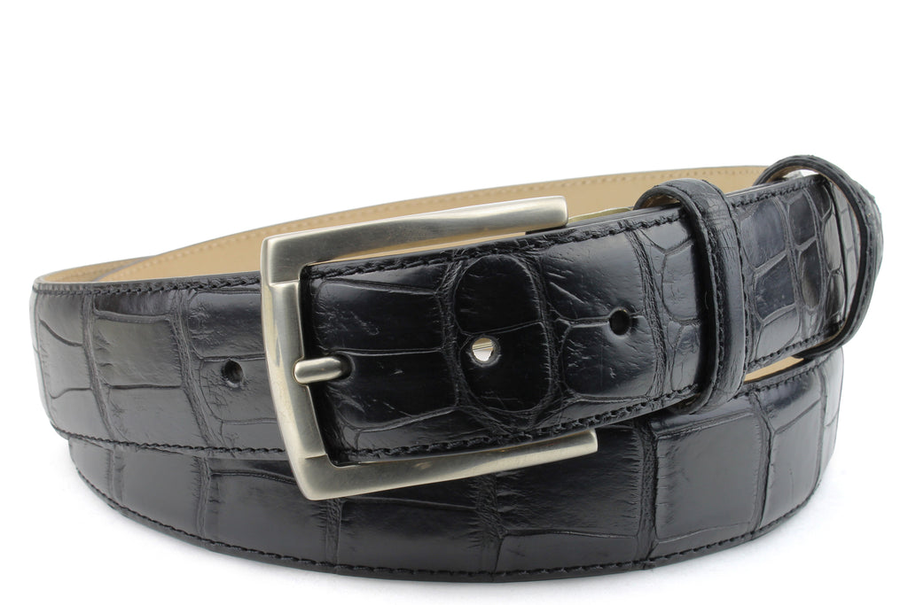 Black Genuine Matte Alligator Belt