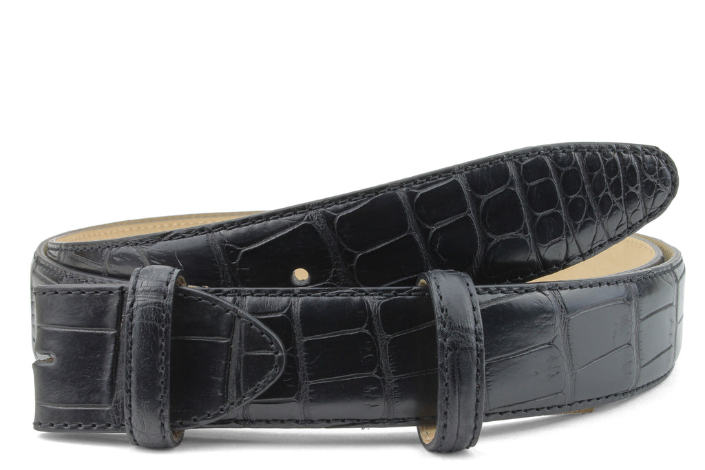 Black Genuine Matte Alligator Belt Strap