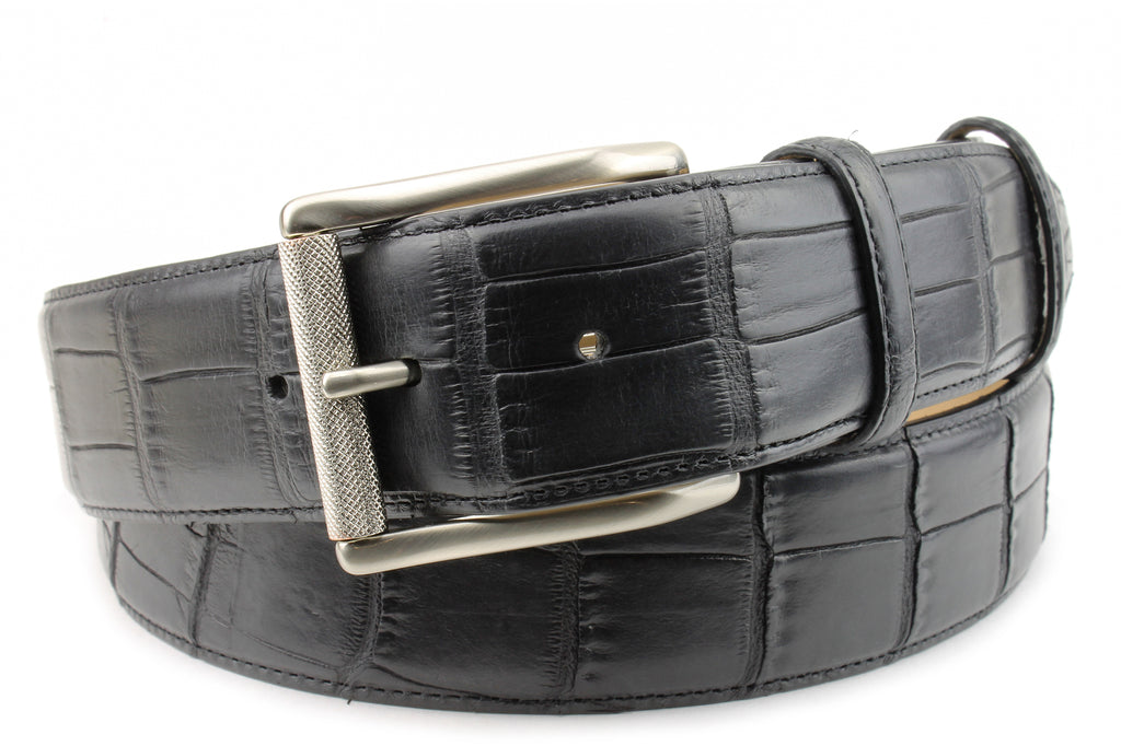 Black Genuine Matte Alligator Roller Belt