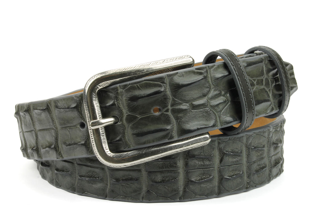 Steel Grey Genuine Porosus Crocodile Feather Edge Belt