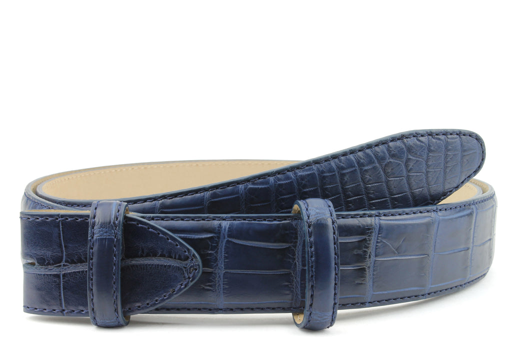 Navy Blue Genuine Matte Alligator Belt Strap
