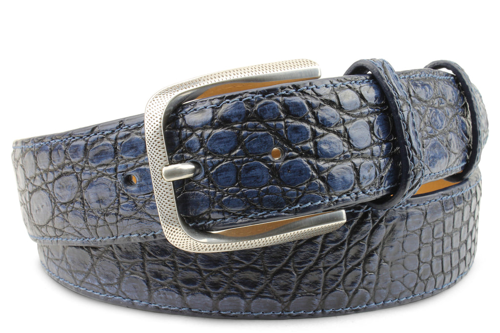 Hand painted Imperial Blue Tone Genuine Crocodile Belt